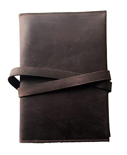Cuaderno de Cuero, Diario de Viaje Vintage, Libro en Blanco Recargable, Agenda, Bloc de Notas para Escribir y Dibujar, Hecho a Mano A5 14,8 x 21,0 cm, Marrón