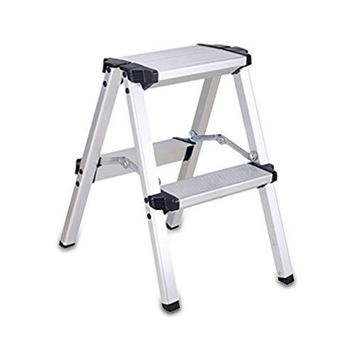 Inklapbare trapladder, aluminium, 2-delig, ladder, zilver, mat, voor kantoor en thuis.