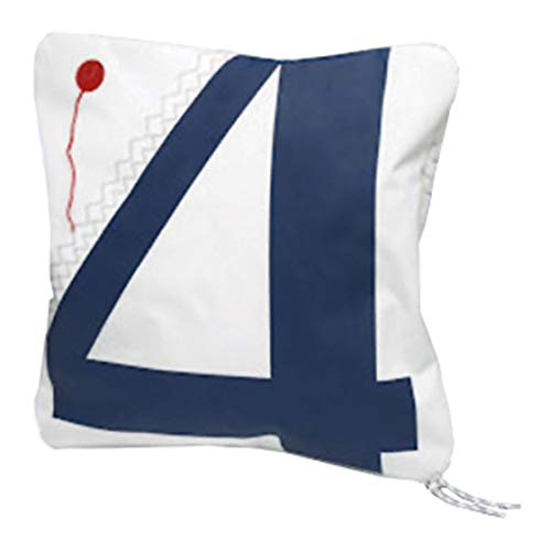 Trend Marine Sea Cushion Kissen, incl. Füllung, Weiß/Marineblau aus Segeltuch