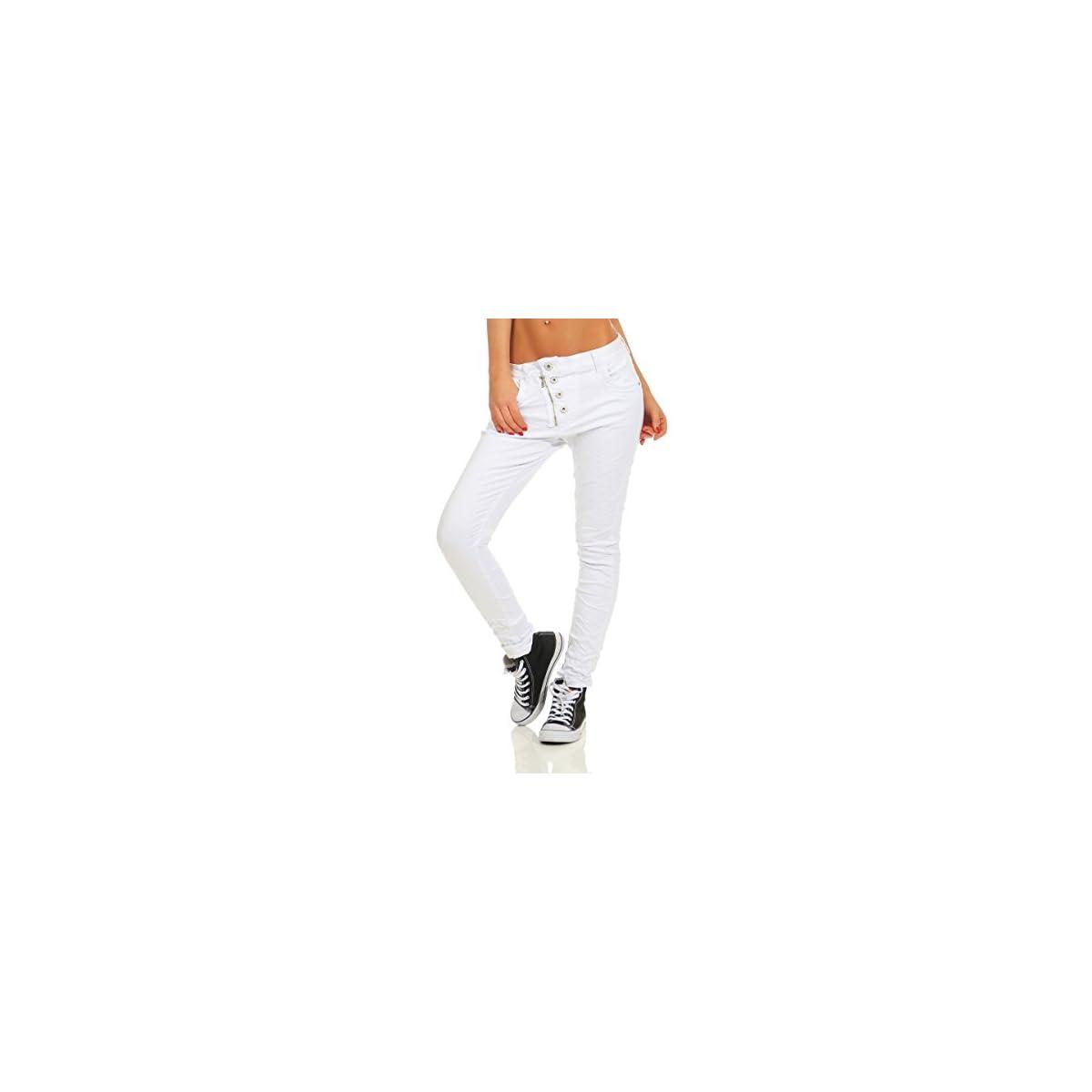 Fashion4Young 11105 Damen Jeans Hose Boyfriend weiß