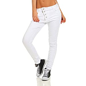 Fashion4Young 11105 Damen Jeans Hose Boyfriend weiß