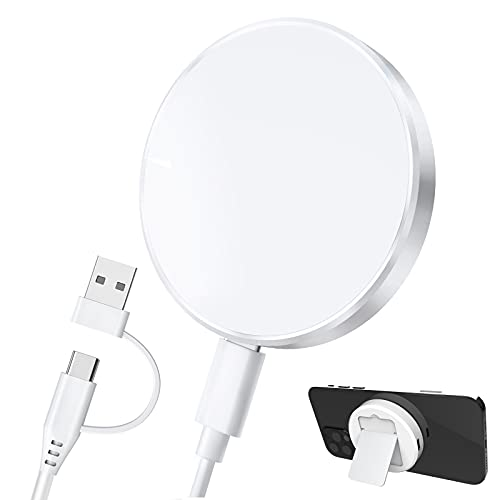 Hoidokly Caricatore Wireless Magnetico da 15W Caricabatterie Wireless Supporto di Caricatore a Induzione Veloce con Alimentatore per iPhone 12 PRO Max/12 Pro/12 Mini/12 - Bianco