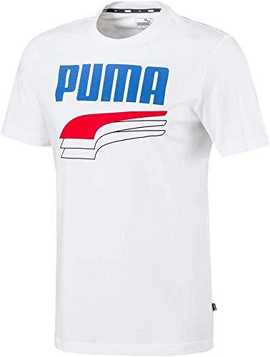 PUMA Herren Rebel Bold Tee Unterhemd, Weiß/Blau White/Palace Blue, L
