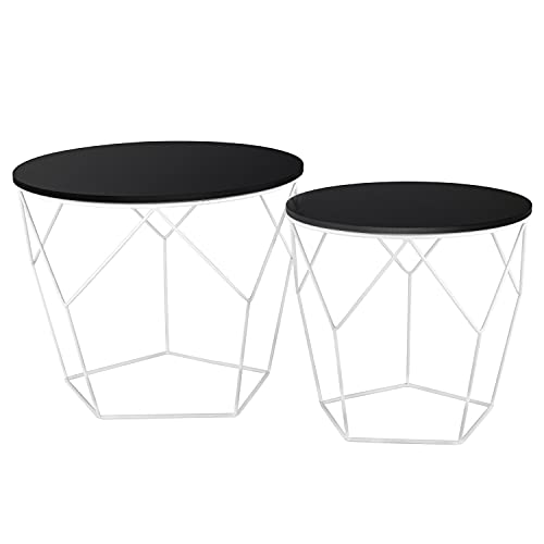 Ribelli Tavolino d'appoggio Legno tavolino Cestino Contenitore tavolino da Salotto Nero Bianco Chiaro, Tavolo in Metallo:Legno Scuro/Bianco
