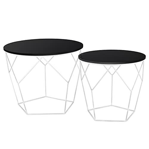 Ribelli Tavolino appoggio Legno tavolino Cestino Contenitore tavolino da Salotto Nero Bianco Chiaro, Tavolo in Metallo:Legno Scuro/Bianco