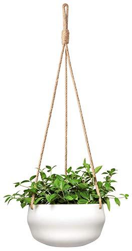 Mkouo Modern Keramischer hängender Pflanzer for Innen Pflanzen Porzellan Hängepflanzenhalter 20.3cm Geometrischer Blumentopf with Seilhänger for Innen Outdoor Kräuter Ivy Crawling Plants, Weiß