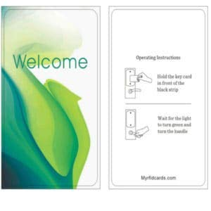 """RFID PVC CARD 1K 13.56 MHZ RFID key card Green""""WELCOME"""" sold in boxes of 200"""
