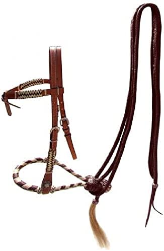 Portland Mall Showman Leather Futurity Knot Store Headstall Brown with Braid Rawhide