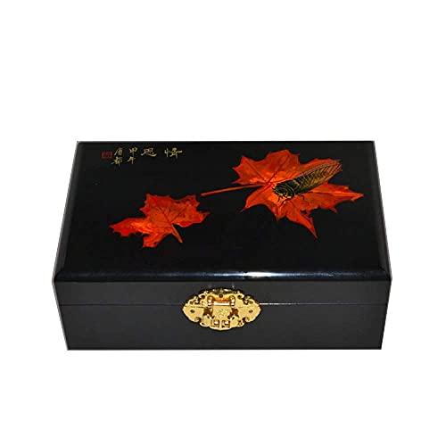 WYZQ Chinesische Aufbewahrungsbox, Push Light Lackwaren Kunsthandwerk Schmuck Aufbewahrungsbox Blumen gemalter Lack Muttertag, Mutter (E)