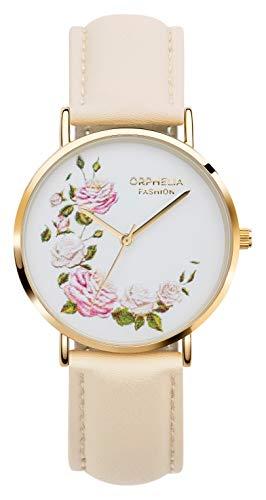 Orphelia Fashion Damen Analog Quartz Uhr Floral mit Leder Armband