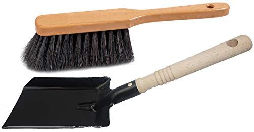 Kehrganitur Kehrset Kohleschaufel Kohlelöffel Ascheschaufel Handfeger (1, Kohleschaufel schwarz + Handfeger)