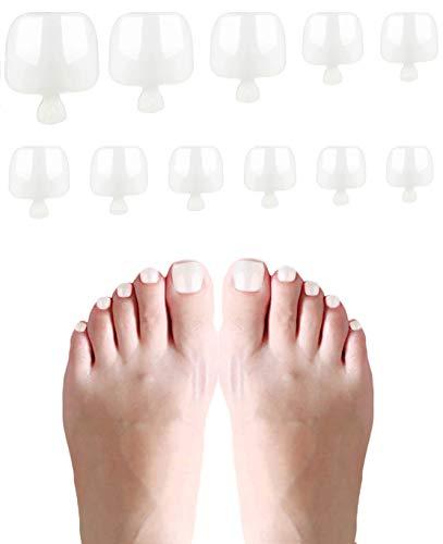 600 Piezas Falso Tips Uñas Acrilicas de Los Pies, 10 Tamaños Fake Toenail Tips Set