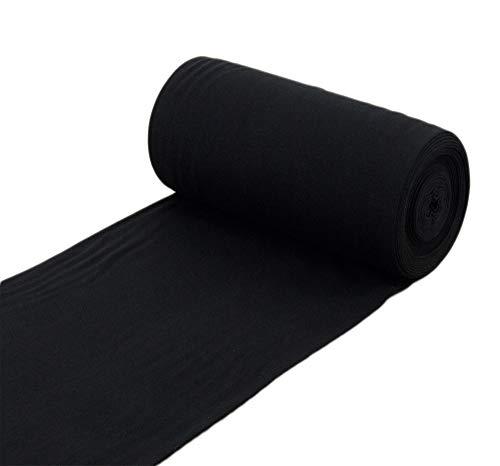 Nadeltraum Baumwoll - Bündchenstoff Uni einfarbig schwarz - Meterware ab 25 cm x 70 cm - Stoff zum Nähen