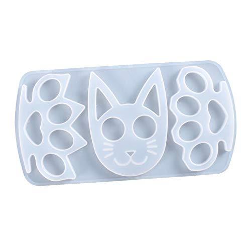 Llavero con forma de gato con colgante de silicona, molde de resina epoxi, anillos de llavero, lentejuelas para manualidades, suministros