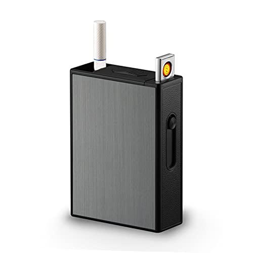 JTYDFG Estuche de cigarrillos con encendedor, 2 en 1 USB recargable sin llama encendedor a prueba de viento Estuche de cigarrillos, puede contener 20 cigarrillos, unisex, negro