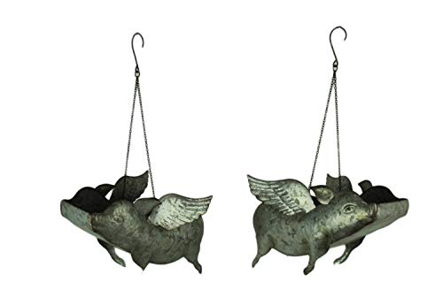 Zeckos Galvanized Metal Flying Pig Hanging Planters Set of 2 Large