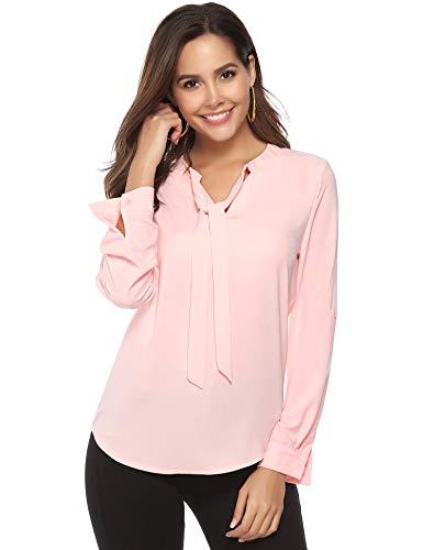 Abollria Camicia Donna Manica Lunga Bluse Basic Camicetta in Chiffon Elegante con Scollo a V