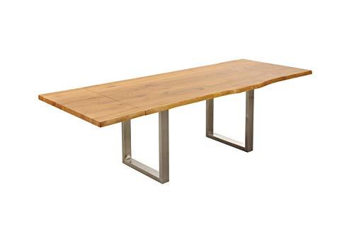 SAM Baumkantentisch Zinst, Wildeiche massiv, Holztisch geölt, 200 – 230 – 260 x 100 cm, Esszimmertisch ausziehbar, pflegeleichtes Unikat