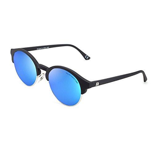 CLANDESTINE Sferico Matte Black Silver Blue - Gafas de Sol Nylon HD Hombre & Mujer