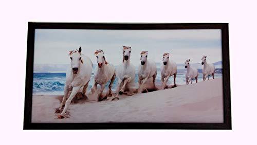 Elegance VASTU 7 RUNNING HORSES Digital Reprint 13.25 inch x 25.25 inch WALL FRAME Painting