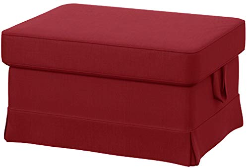 Easy Fit The Heavy Cotton Ektorp Ottoman Cover Replacement is Custom Made for IKEA Ektorp Footstool Or Stool Slipcover (Cotton Red)