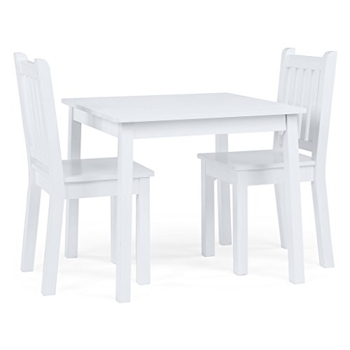 Humble Crew White Kids Wood Table and 2 Chairs Set