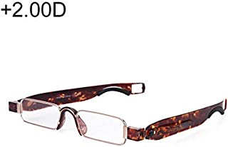 WTYD Clothing and Outdoor Accessories Portable Folding 360 Degree Rotation Presbyopic Reading Glasses with Pen Hanging, 2.00D(Black) Outdoor Equipment (Color : Color1)
