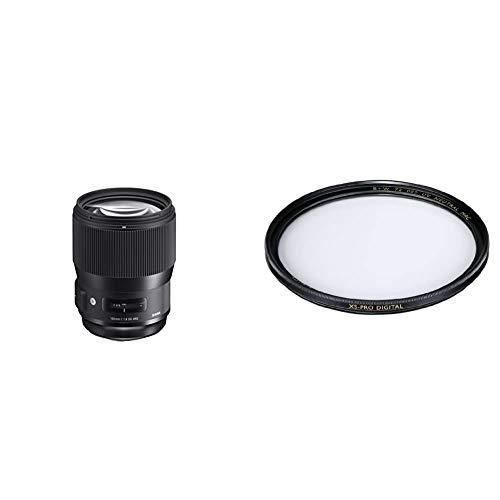 Sigma 135mm F1,8 DG HSM Art Objektiv (82mm Filtergewinde) für Canon Objektivbajonett & B+W Schutz-Filter, Clear Filter (82mm, MRC Nano, XS-Pro, 16x vergütet, Slim, Premium)