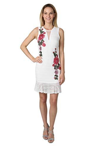 Bebe Damen Embroidered Ruffle Hem Dress Kleid, weiß, 40