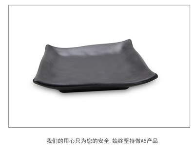 Plaque en plastique Noir Sushi Buffet Grill Carré givré Art Vaisselle, S