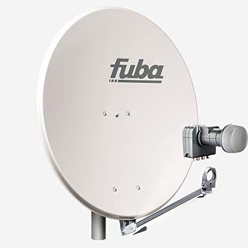 Fuba 4 Teilnehmer Sat Anlage DAL 804 G | Sat Komplettanlage mit Fuba DAL 800 G Alu Sat-Schüssel/Sat-Spiegel grau + Fuba DEK 417 Quad LNB für 4 Receiver/Teilnehmer (HDTV-, 4K- und 3D-kompatibel)