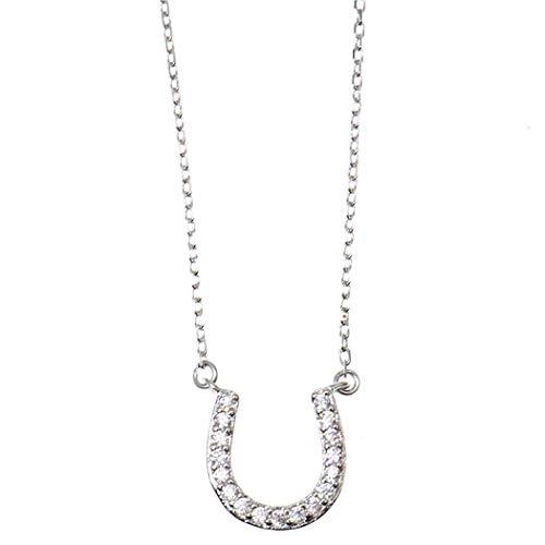 Collar con colgante de herradura de la suerte de plata de ley 925 para mujer
