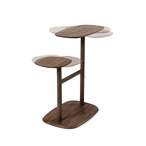 UMBRA Swivo Beistelltisch und Nachttisch mit Zwei schwenkbaren Tischplatten und Ablagestange für Magazine und Decken, Walnussholz, Einheitsgröße