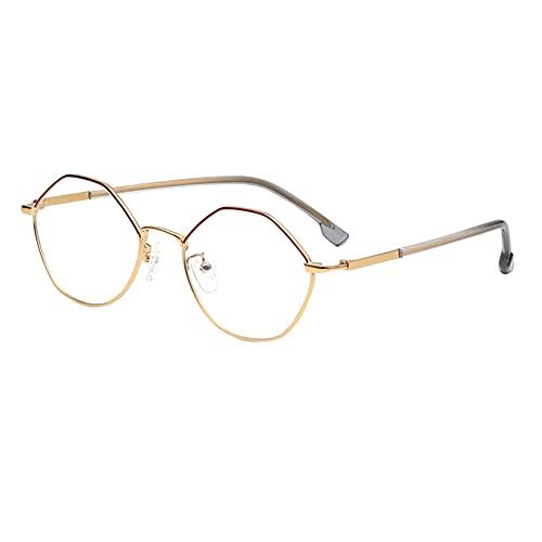 HQMGLASSES Gafas de Lectura de Lectura Anti-Azules HD Irregulares para Mujer, Lente de Resina 1.56 / Lupa antifatiga Adecuada para Lector dioptrías +1.0 a +3.0,Oro,+1.0