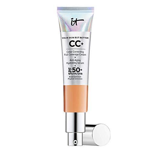 IT Cosmetics Your Skin But Better CC+ Cream, Tan (W) - Color Correcting Cream, Full-Coverage Foundation, Hydrating Serum & SPF 50+ Sunscreen - Natural Finish - 1.08 fl oz