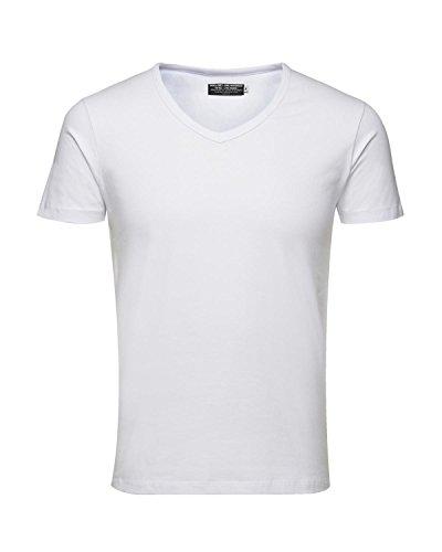 JACK & JONES 3er Pack Herren T-Shirt Basic V-Ausschnitt oder Rundhals einfarbig Slim Fit in weiß schwarz blau grau