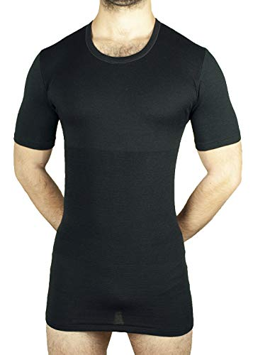MANIFATTURA BERNINA Form 1005 (Taglia 4 Nero) - Maglietta Termica Mezza Manica Intimo Uomo Lana e Cotone Fascia Vita incorporata