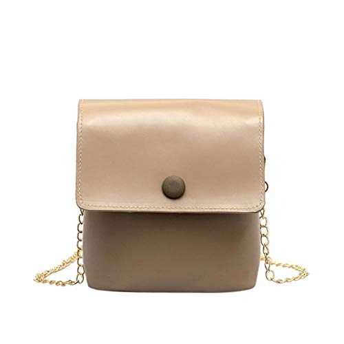 shuangklei Bolso de hombro retro de cuero para mujer Bolso para niña Mini bolso de mensajero cuadrado Impermeable Elegante de lujo Negro Marca famosa Small-B