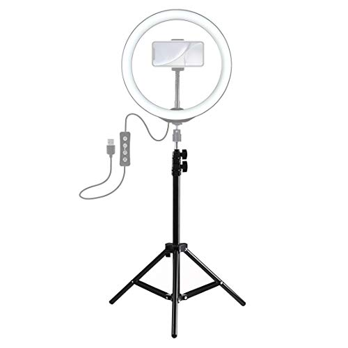 Ring lichten Vlogging Video Light Live-uitzending Kits, 1.1m Hoogte Tripod Mount Holder Statief voor livestream, fotograferen, portretten,