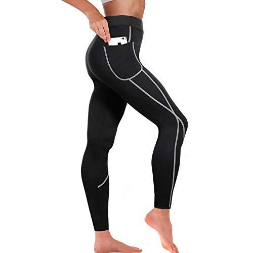 Bingrong Mallas Pantalones Deportivos Leggings Mujer Deporte Pantalones Adelgazantes Mujer con Bolsillos Pantalon Running Neopreno Fitness Sauna Sudoracion Ropa Quema Grasa Mujer (Negro, X-Large)