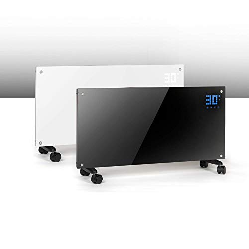 Triniti - Panel termoconvector, calefactor eléctrico, radiador de cristal de convección 1000/2000 W, pantalla táctil mando a distancia, 2 ajustes, montaje en pared, cristal, blanco