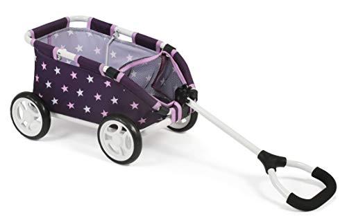 Bayer Chic 2000 660 71 Ziehwagen Skipper, Kleiner Bollerwagen für Teddys und Puppen, Stars lila