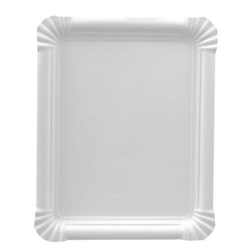 PAPSTAR 11071 250 Pure - Bandeja Rectangular de cartón (16,5 x 20 cm), Color Blanco