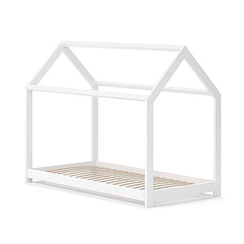 VitaliSpa Hausbett Wiki Weiß Kinderbett Kinderhaus Kinder Bett Holz Matratze (Weiß Lackiert, 80 x 160 cm)
