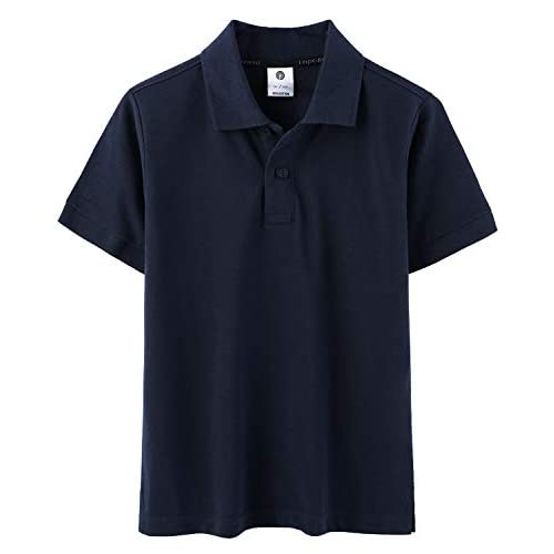 LAPASA Polo per Bambini in Cotone Traspirante Classic Fit Maglietta T-Shirt a Maniche Corte K03 (10 Anni, Blu Navy)