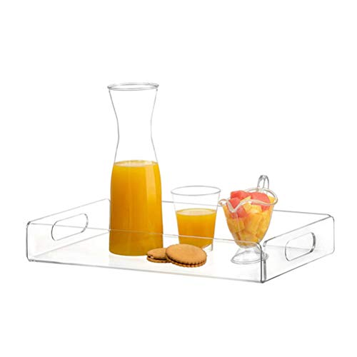 Mumaya Clear Serving Tray,Spill Proof,Valet Tray,Acrylic Decorative Tray Organiser,for Ottoman Coffee Table Countertop with Handles