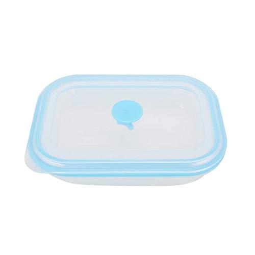 Boîte à Lunch en Silicone de Grade de Nourriture Pliant rectangulaire Portable Alimentation conteneur carré Silicone Crisper réfrigérateur Micro-Ondes fourfilfait boîte de Repas 600 ML 1pc