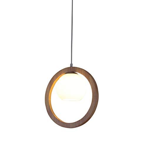 L-YINGZON comodino e Lampade da tavolo, Solid Lampadari legno rotondo, vetro moderno minimalista LED Illuminazione decorativa in legno Lampadario Lampadari Nordic Cafe Aisle Tavolo da pranzo piccola l