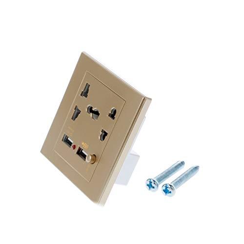 Buwei Dual USB LED Cargador de Pared eléctrico Estación Adaptador de Enchufe Toma de Corriente Panel de interruptores de Encendido/Apagado