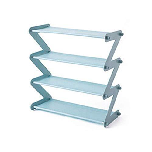 YIWOYI Zapatero de acero inoxidable de 4 capas, no tejido, simple, para el hogar, sala de estar, almacenamiento, organización, color azul